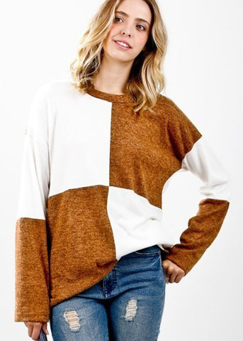 Large Checkered Two Tone Knit Pullover