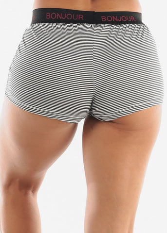 "Image of ""Bonjour"" Elastic Band PJ Shorts"