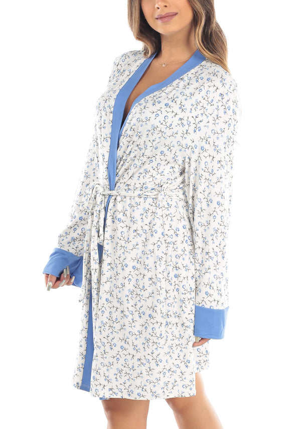 Floral Print Self Tie White Robe