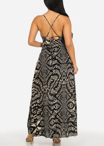 Image of Black Printed Crisscross Back Dress