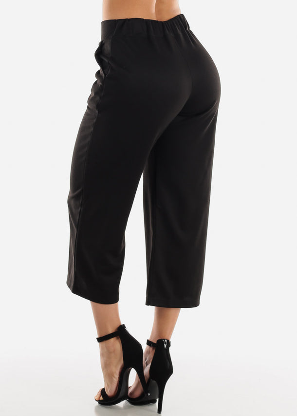 Pull On Black Cropped Pants
