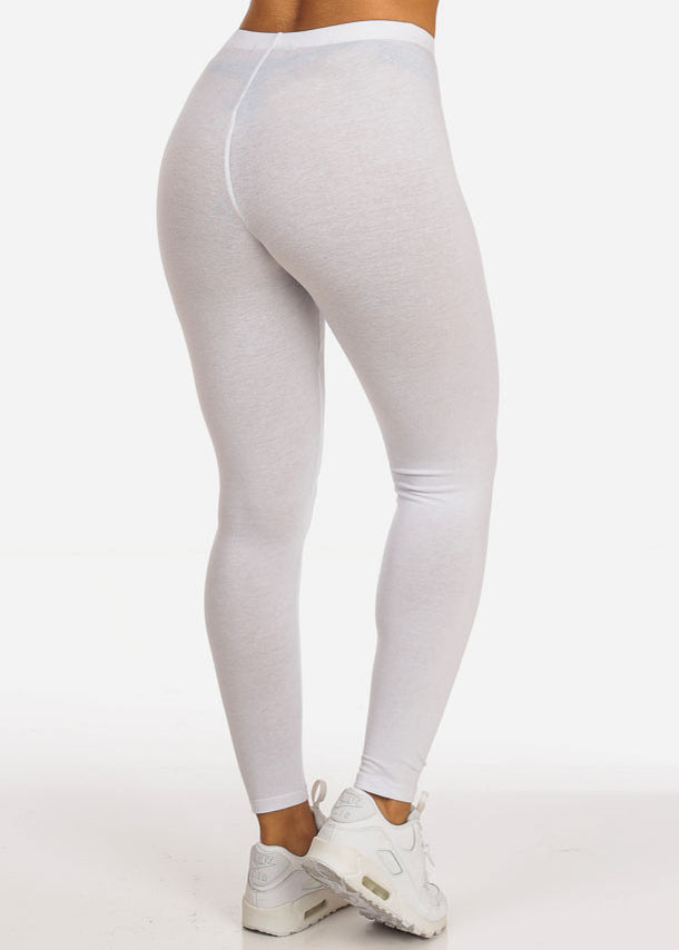 Solid White Stretchy Leggings