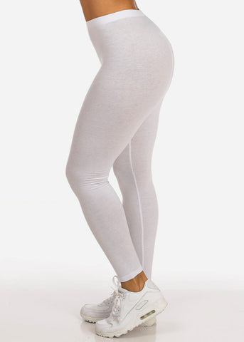 Image of Essential Mid Rise Stretchy White Leggings