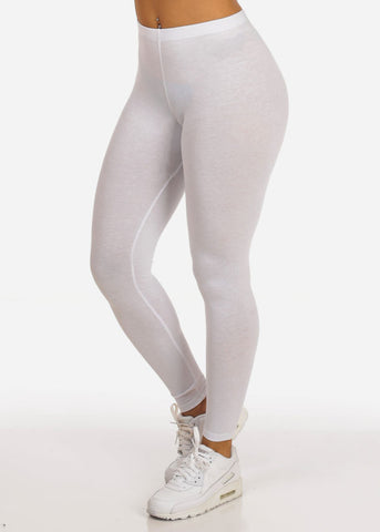 Essential Mid Rise Stretchy White Leggings