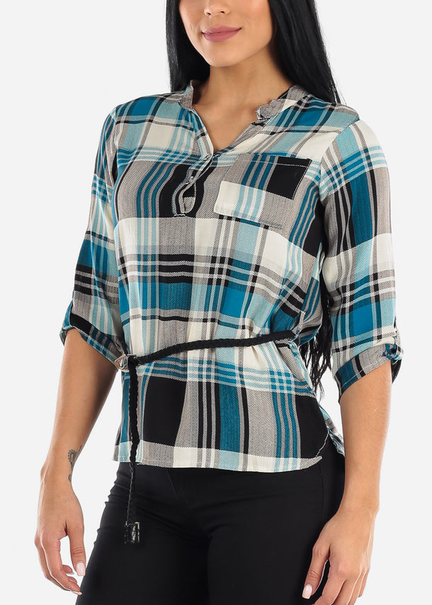 Half Button Up Blue Plaid Top