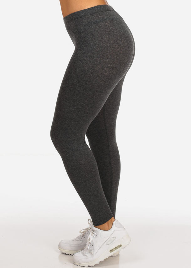 Solid Charcoal Stretchy Leggings