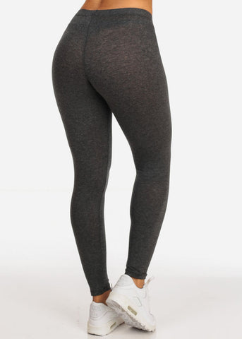 Image of Essential Mid Rise Stretchy Charcoal Leggings