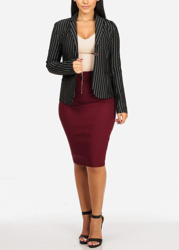 Classic Black One Button Stripe Blazer