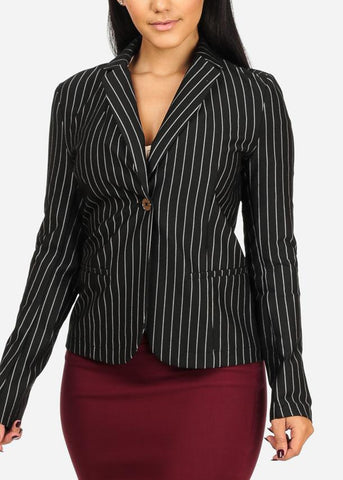 Image of Classic Black One Button Stripe Blazer