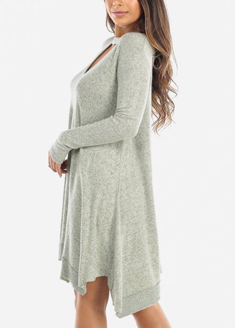 Image of Light Olive Keyhole Sweater Dress
