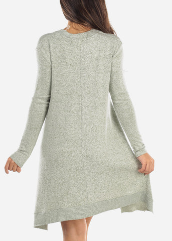 Light Olive Keyhole Sweater Dress