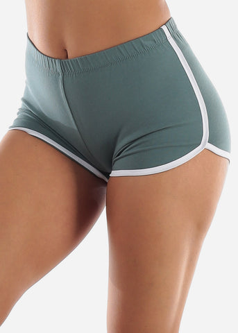 Image of Sage Dolphin Hem Shorts