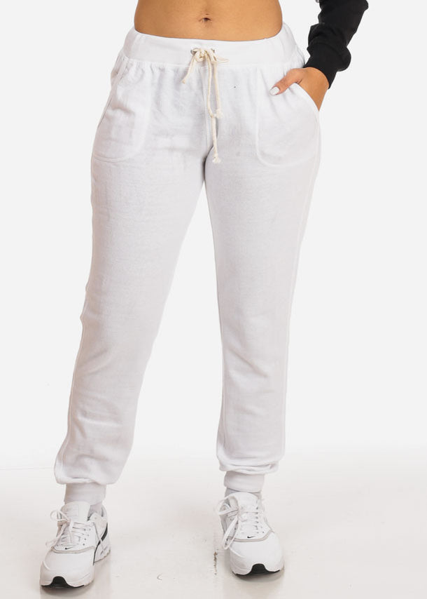 White Drawstring Waist Jogger Pants