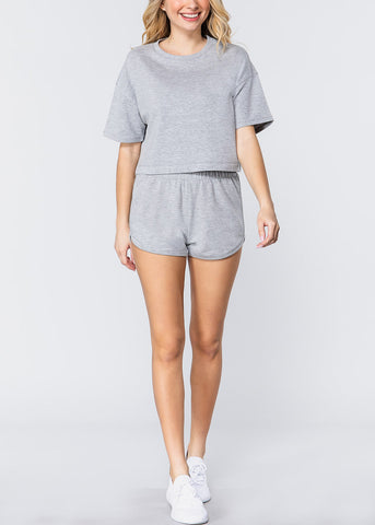 Image of Short Sleeve Grey Crop Top