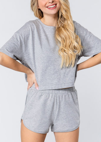 Short Sleeve Grey Crop Top