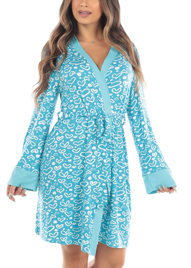 Heart Print Self Tie Light Blue Robe