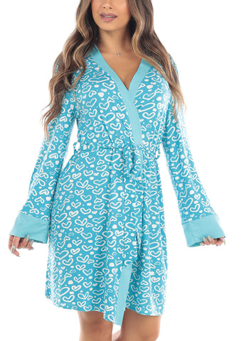 Long Sleeve Open Front Tie Front Baby Blue Heart Print Sleepwear Robe