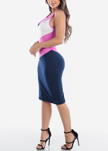 Image of Sexy Tight Fit 2019 New Bodycon Stripe Pink White And Navy Dress For Women Ladies Juniors
