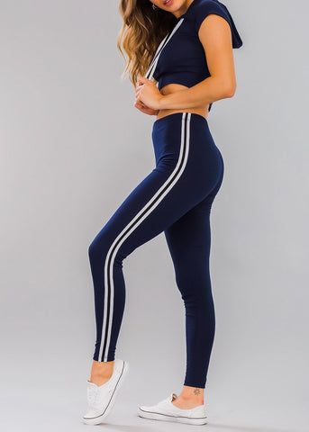 Image of Navy Ribbed Crop Hoodie & Leggings (2 PCE SET)