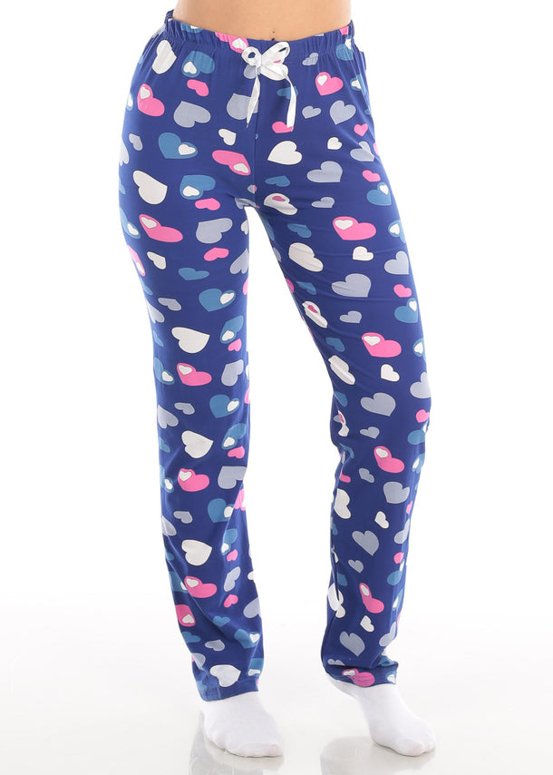 Stretchy Navy Heart Print Pajama Pants Sleepwear Sleeping Clothes