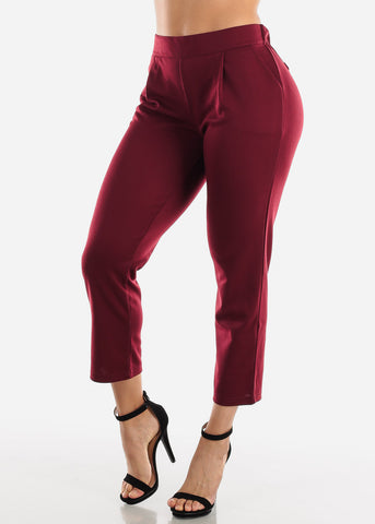 Pull On Wine Cropped Pants