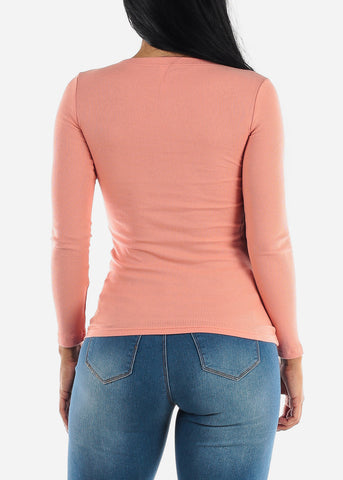 Pink Long Sleeve Zip Up Top