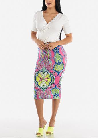Printed Pink Pencil Midi Skirt