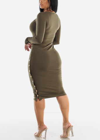 Long Sleeve Olive Bodycon Midi Dress