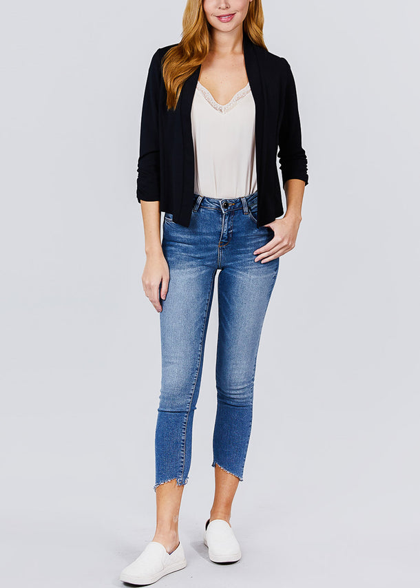 Three Quarter Black Open Front Blazer