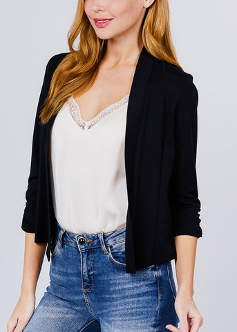 Image of Three Quarter Black Open Front Blazer
