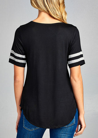 Image of Essential Casual Short Stripe Trim Sleeve Stretchy Black Top
