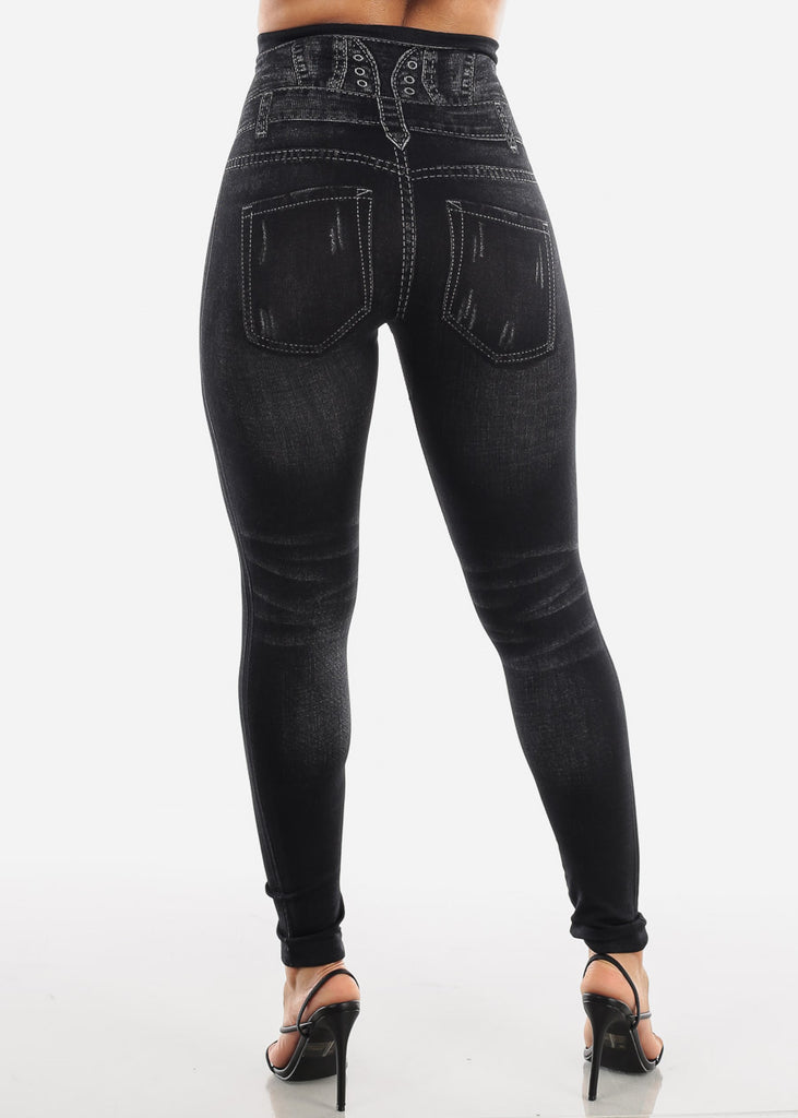 Black Faux Distressed Denim Print Leggings