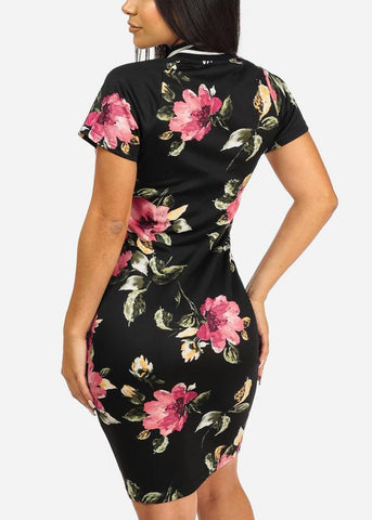Black Floral Front Zipper Dress