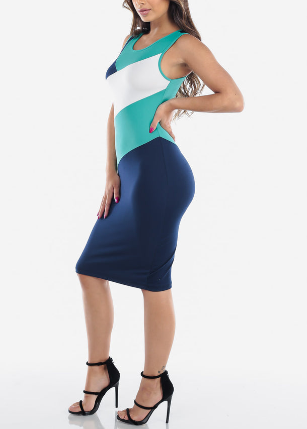 Green Stripe Bodycon Midi Dress
