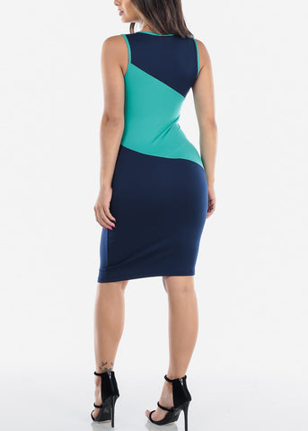 Image of Sexy Tight Fit 2019 New Bodycon Stripe Green White And Navy Dress For Women Ladies Juniors