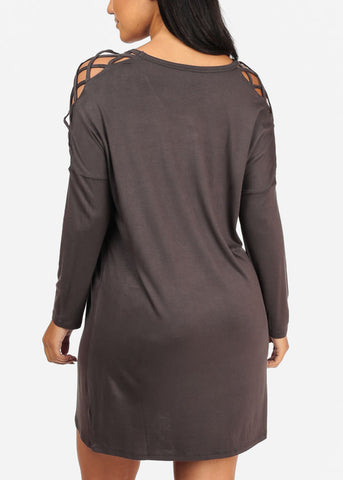 Image of Grey Lace Up Sleeve Dress