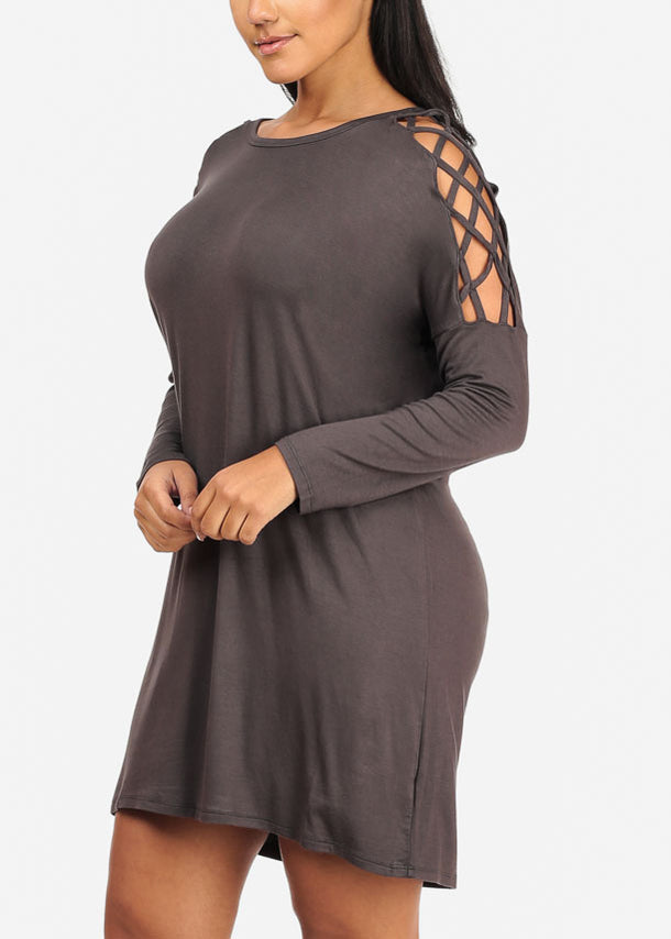 Discount Grey Lace Up Sleeve Dress