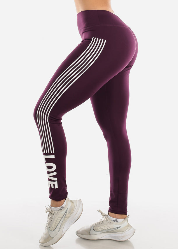 Activewear Purple Stripe Leggings