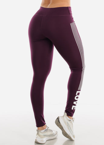 "Image of Activewear Purple Stripe Leggings ""Love"""