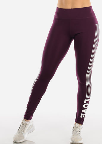 "Activewear Purple Stripe Leggings ""Love"""