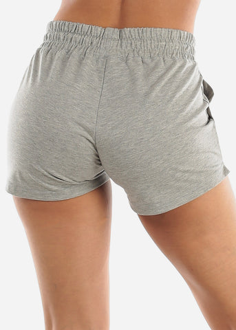 Grey Drawstring Waist Shorts