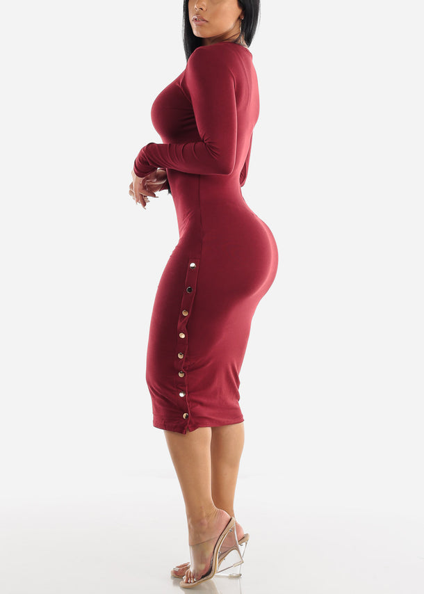 Long Sleeve Burgundy Bodycon Midi Dress
