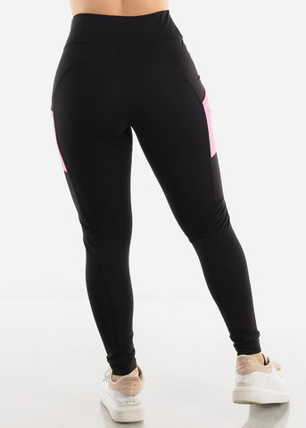 Black & Pink Side Pockets Leggings