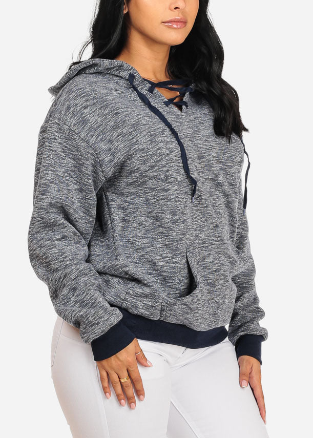 Cute Navy Sweater W Hood
