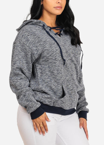 Image of Cute Navy Sweater W Hood