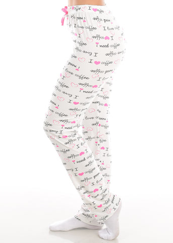 Stretchy Pull On White Graphic Print Love Sleepwear Pajama Pants