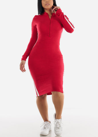 Sporty Red Bodycon Thin Sweater Dress