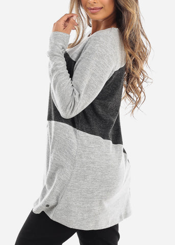 Two Tone Grey Long Sleeve Tunic