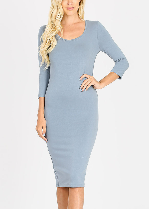 Quarter Sleeve Blue Grey Bodycon Dress