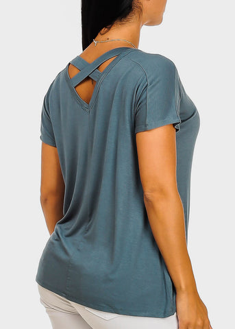 Image of Criss Cross Back Teal Top